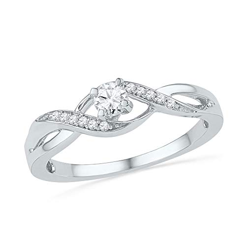 Jewel Tie - Size 6 - Solid 10k White Gold Round Diamond Solitaire Crossover Twist Promise Bridal Ring 1/6 Cttw.