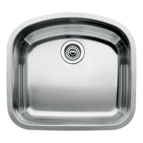 Blanco BL440249 Platinum Series Wave 10-Inch Undermount Deep Single Bowl, Satin Polished