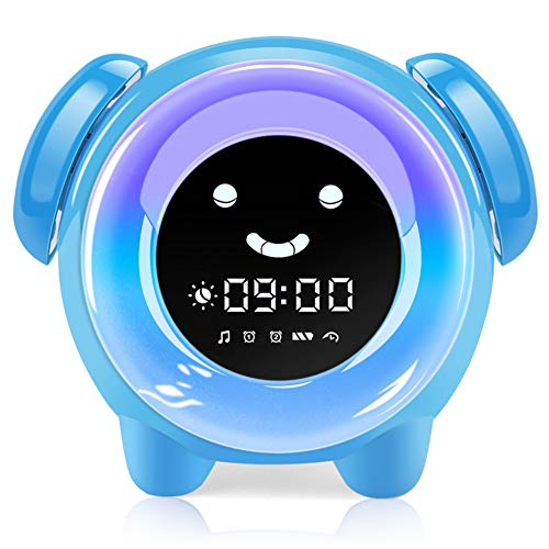 KNGUVTH Kids Alarm Clock, Updated Version Sleep Training Kids Clock with 7 Changing Colors Teach Girls Boys Time to Wake up, 6 Alarm Rings, NAP Timer, Rechargeable Battery USB Charging Clock (Blue)