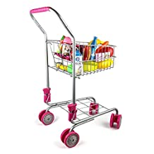 Precious Toys 0130 Kids & Toddler Pretend Play Shopping Cart with Groceries
