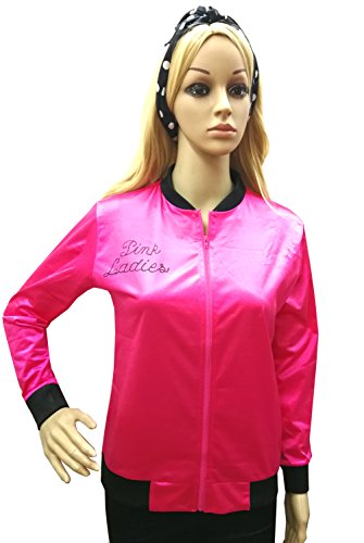 T-birds And Pink Ladies Costumes (TDmall 50S Grease T-Bird Danny Rhinestone Pink Ladies Jacket Costume Fancy Dress with Scarf M)