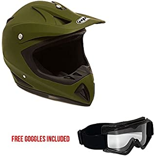 Sale Off Motorcycle Helmet Off Road MX ATV Dirt Bike Motocross UTV - Military Green (Small). Includes Goggles