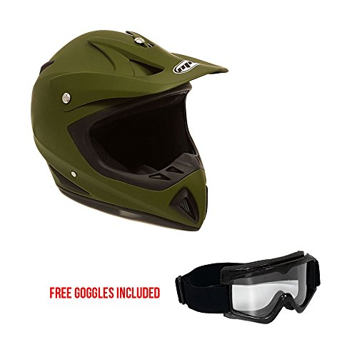 Motorcycle Helmet Off Road MX ATV Dirt Bike Motocross UTV - Military Green (Medium) + FREE Goggles