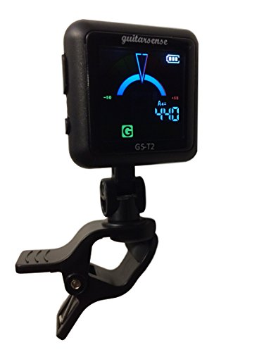 GuitarSense GS-T2 - Rechargeable Clip on Guitar & Bass tuner for Acoustic & Electric instruments