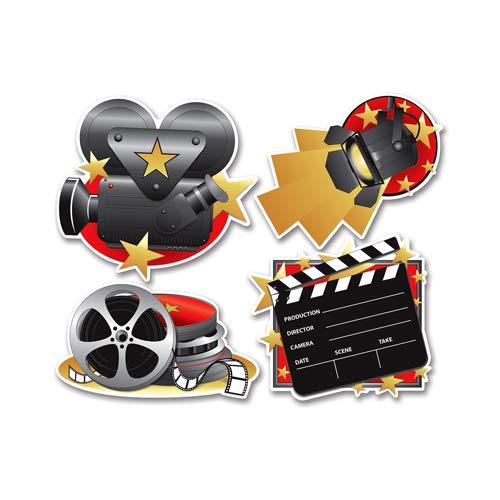 (Beistle 54155 4-Pack Movie Set Cutouts,)