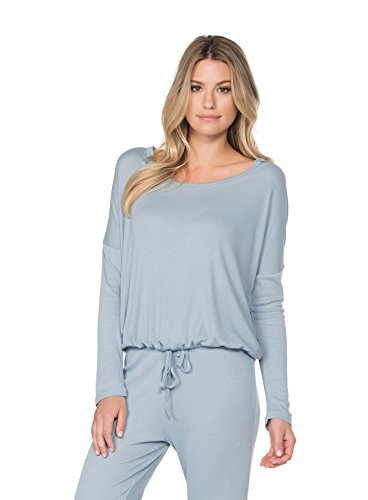 Jersey Ribbed Sweatshirt (BAREFOOT DREAMS LUXE RIBBED JERSEY SLOUCHY PULLOVER (LARGE, CHAMBRAY))