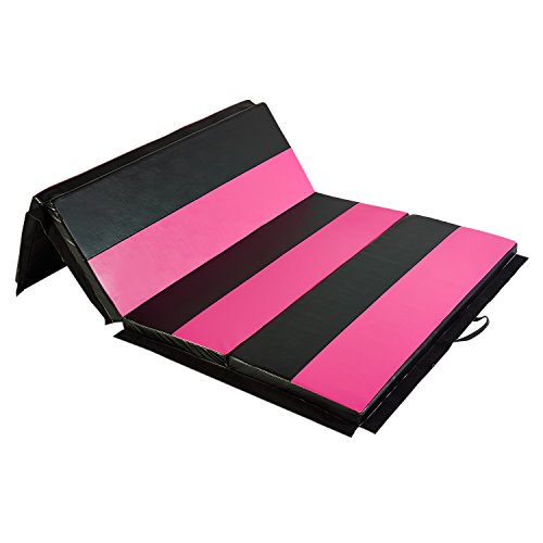 DOIT 4'x6'x2 Thick Folding Gymnastic Mat Surface PU Cortex with Handles and Zipper Home Fitness Equipment (rose-red and black)