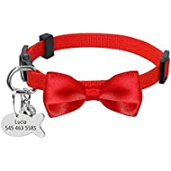Didog Pretty Breakaway Cat Collars with Fish Shaped ID Tags,Bow-Tie Cat Collar Charms for Kitten Small Dogs,Red