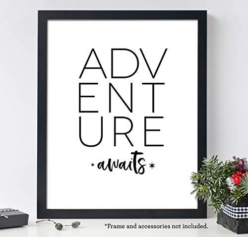Adventure Awaits, 11x14 Unframed Art Print, Minimalist Nursery Decor, Travel Wall Art, Makes a Great Baby Shower Gift ()
