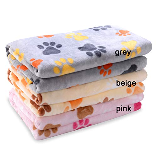 (Ring Loose LLC Large Dog Fleece Blanket - 60 x 40 Paw Pattern Velvet Blanket for Couch Car Bed, Plush Soft Washable Quilt, Warm Kennel Mat)