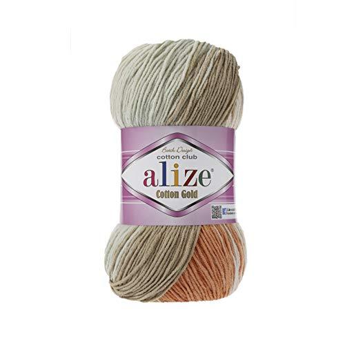 55% Cotton 45% Acrylic Yarn Alize Cotton Gold Batik Thread Crochet Hand Knitting Yarn Arts Crafts Lot of 4skn 400 gr 1444 yds Color Gradient 7103