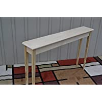 Unfinished 46 Narrow Console, Sofa, Foyer, Beveled Edge Pine Table, Tapered or Straight Block Leg