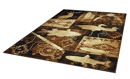 Cabin Area Rug Design Lodge 383 (3 Feet 10 Inch X 5 Feet 1 Inch)