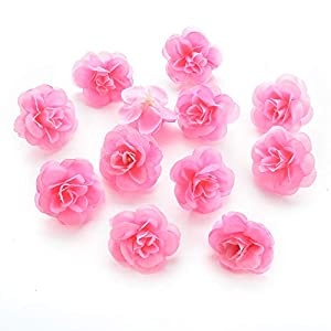 silk flowers in bulk wholesale Fake Flowers Heads Cherry Blossoms Artificial Tea Bud Flower Heads for Wedding Home Decoration Scrapbooking DIY 80pcs 4CM (Pink) 113