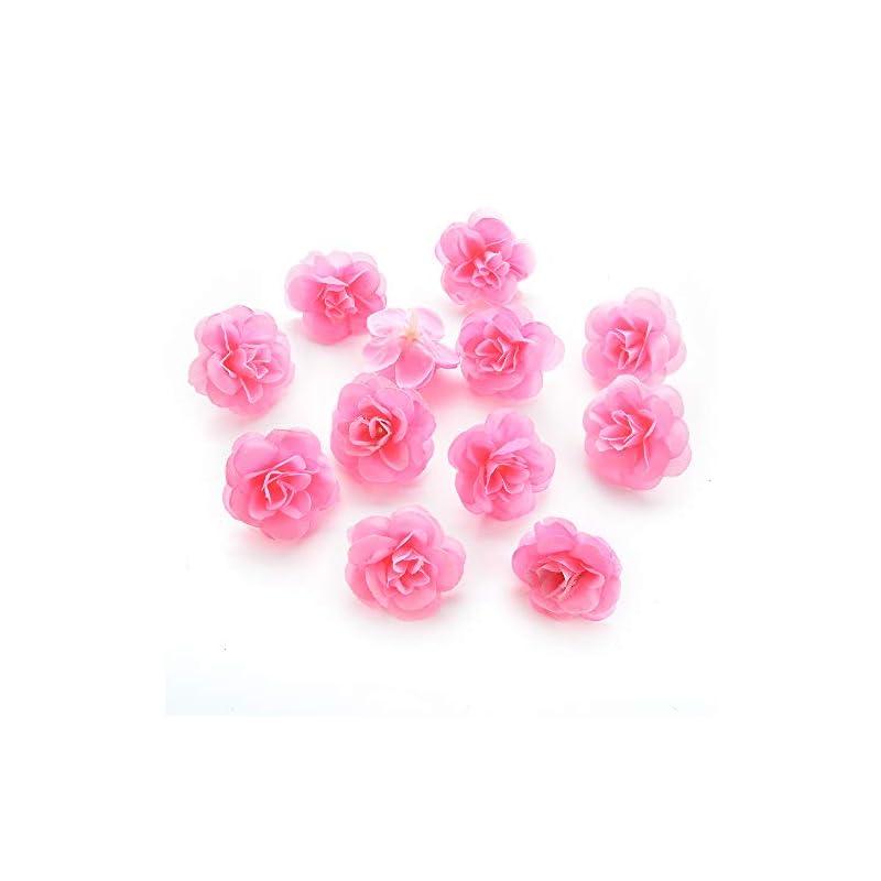 silk flower arrangements silk flowers in bulk wholesale fake flowers heads cherry blossoms artificial tea bud flower heads for wedding home decoration scrapbooking diy 80pcs 4cm (pink)