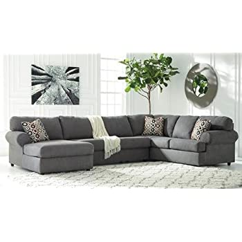 Ashley Jayceon 64902-16-34-67 3-Piece Sectional Sofa with Left Arm Facing Chaise Armless Loveseat and Right Arm Facing Sofa in Steel
