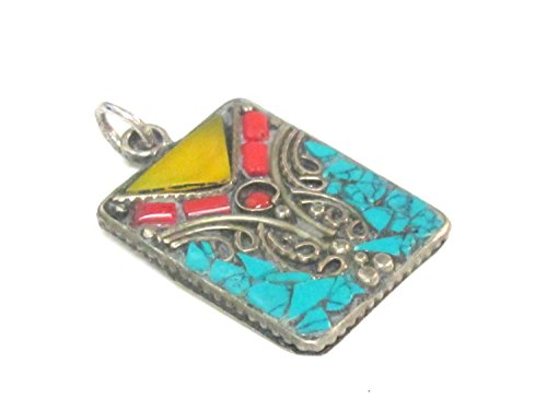 1 piece - Rectangular square shape Tibetan silver charm pendant with mosaic turquoise coral copal inlay - PM573A