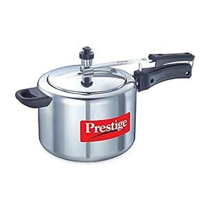 Prestige Nakshatra Aluminium Pressure Cooker, 5 Litres, Silver