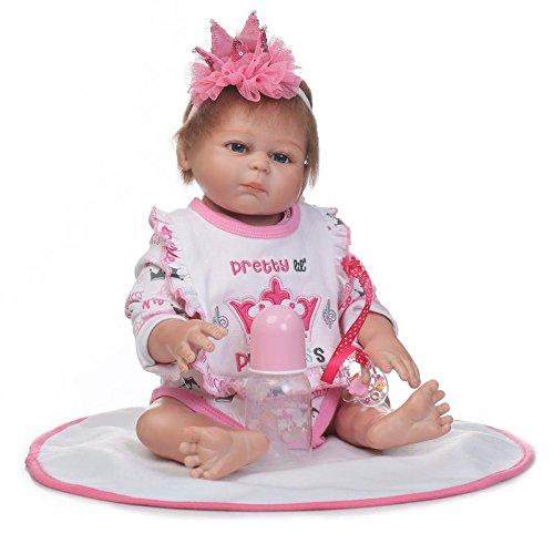 Correct Eye - Nkol Reborn Dolls Lifelike Newborn Realistic Baby Doll (Silicone Vinyl Full Body, Waterproof), 20inch 50cm Weighted Baby Girl or Boy Anatomically Correct Toys (Pink Girl Doll)