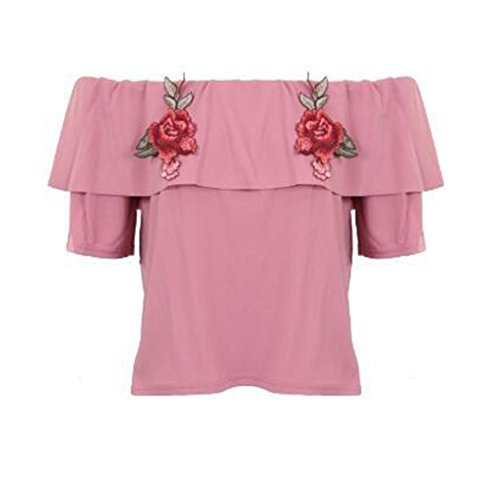 Embroidered Running Sweatshirt - Wintialy Women Sexy Off Shoulder Blouses Summer Short Sleeve Rose Floral Ruffles Embroidered Tops Shirt