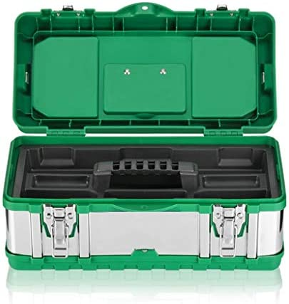 ツールオーガナイザー ステンレス鋼ツールボックスポータブル多機能修復ツールハードウェアストレージボックス、個別のアクセサリボックスとツールトレイ付き ポータブルツールボックス (サイズ : 19 inches)