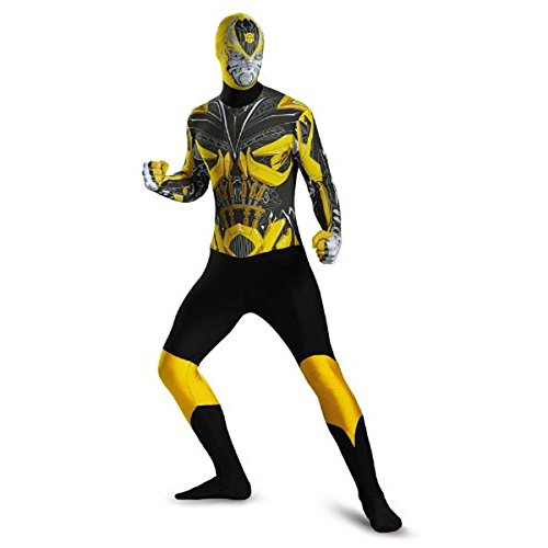 Disguise Men's Hasbro Transformers Age Of Extinction Movie Bumblebee Bodysuit Costume, Yellow/Black, (Bumblebee Transformers Costume For Adults)