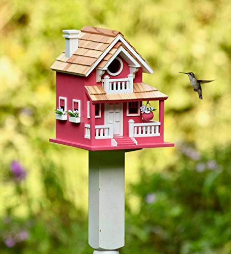 Plow & Hearth in The Pink Cottage Birdhouse - 8 L x 9 W x 11 H with 1.25 Dia Opening