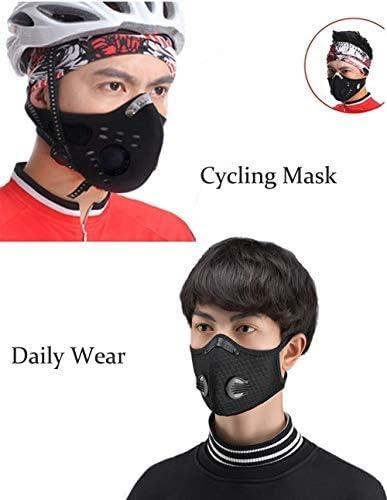 YJZQ Cycliste Bandana Protection Homme Cagoule Couvercle de Visage Sport Ma-sque de Charbon Actif Anti-Pollution Tour de Cou Anti-poussi/ère Anti-salive UV50+