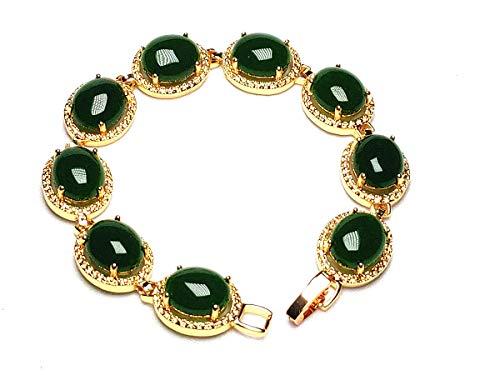 - yigedan 18K Yellow Gold GP Inlay Dark Green Jade Chain Bracelet
