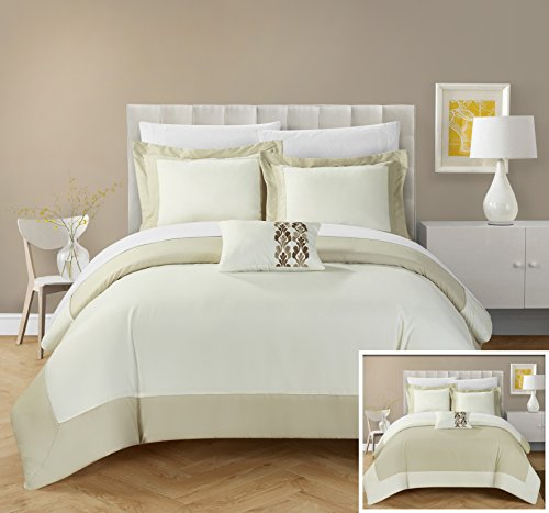 Chic Home 4 Piece Papillon MODERN TWO TONE REVERSIBLE HOTEL COLLECTION, with embellished borders and embroidery decor pillow Queen Duvet Cover Set Beige