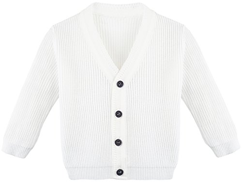 Bouquet Sweater (Lilax Baby Boys Basic Long Sleeve V-Neck Classic Knit Cardigan Sweater 3-6 Months White)