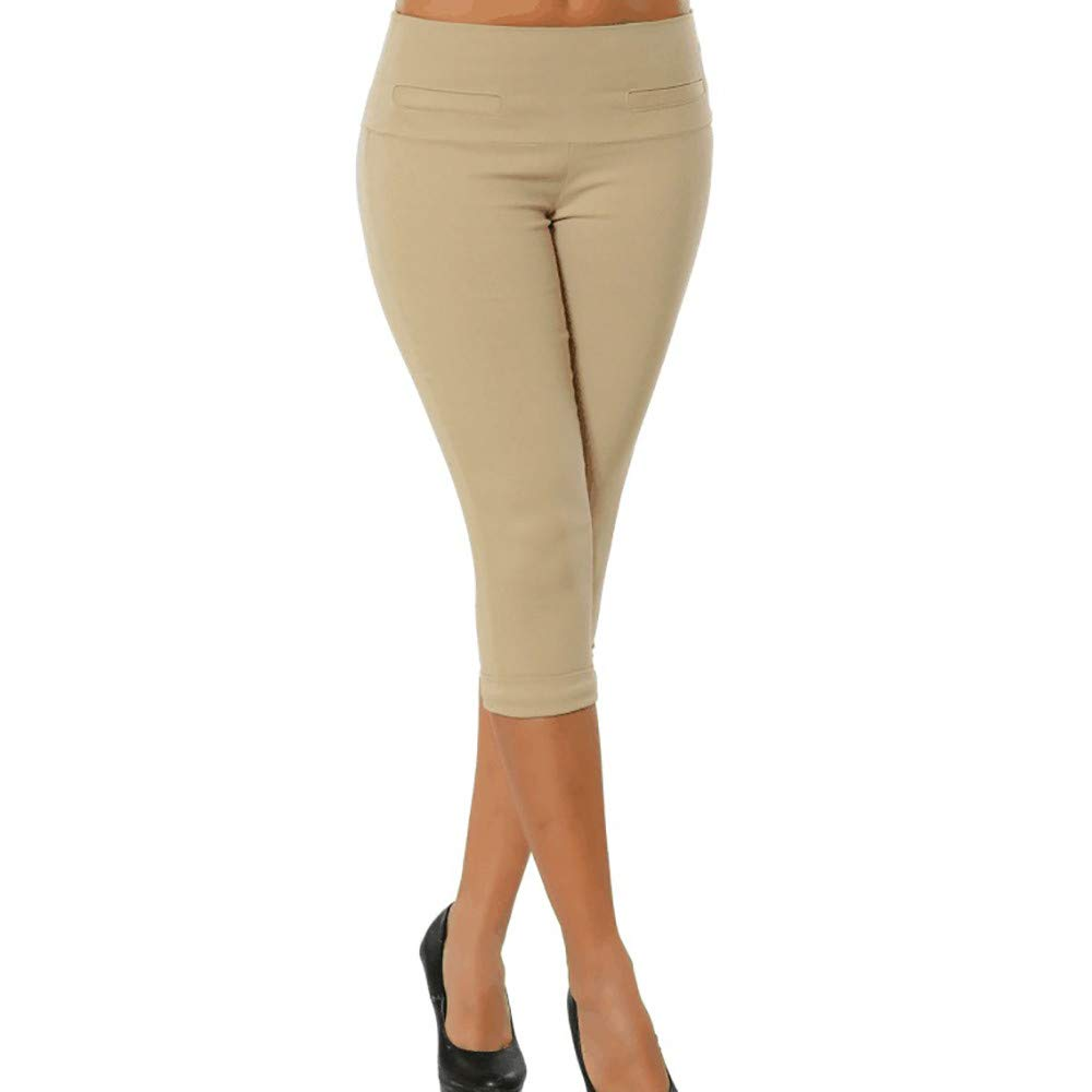Pervobs Women Plus Size Solid Button Zipper High Waist Calf-Length Pants Trousers(S, Khaki)