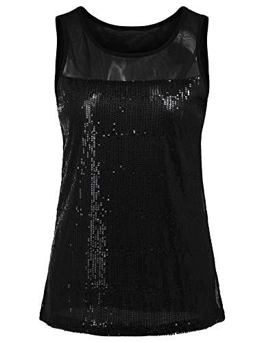 - Women's Vintage Style Glitter Sequined Vest Tank Tops Sparkly Sleeveless Blouses (Black, XXL)