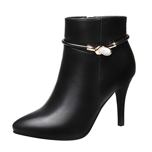 T&Mates Womens Fashionable Faux Fur Lined Zip Pointed Toe Stiletto High Heel Ankle Booties