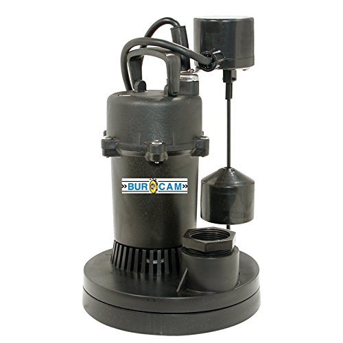 BurCam 300601 Submersible Sump Pump, 1.5'' Discharge with 1.25'' Reducer, 1/4 hp, Vertical Switch, 2500 GPH Max
