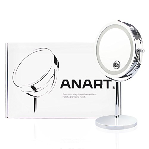 ANART LED Lighted Vanity Mirror, 7-inch Double-Sided Magnifying (1X-10X) 360 Degree Swivel Makeup...