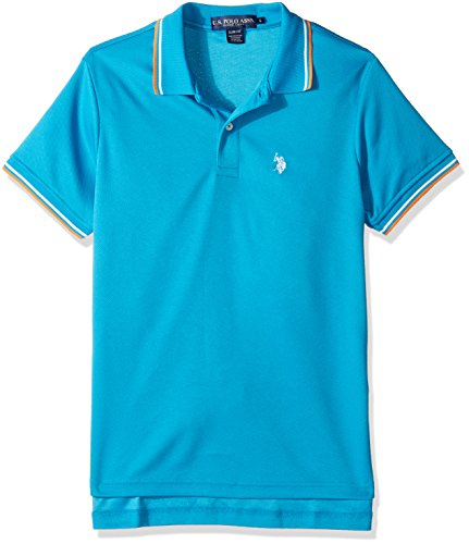 U.S. Polo Assn. Mens Short Sleeve Slim Fit Solid Poly Polo Shirt