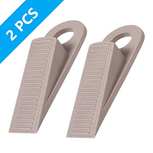 Ozland Rubber Hook Type Door Stopper, Door Stop Works on All Floor Surfaces, Control The Size of The Door Gaps and Prevent The Lock-Outs, 2 Pack (Taupe)