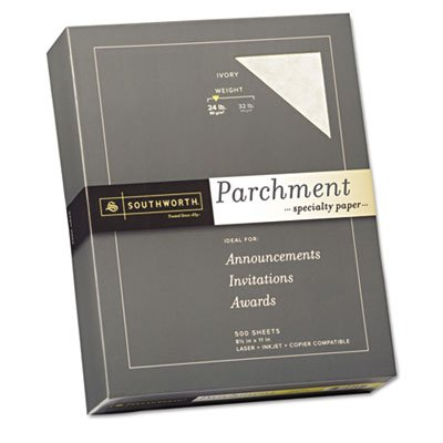Parchment Specialty Paper, Ivory, 24 lbs., 8-1/2 x 11, 500/Box by Southworth Products