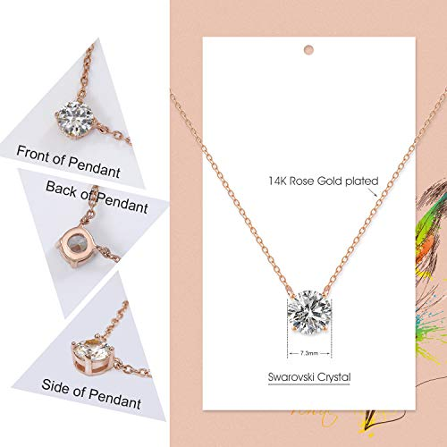 Women Crystal Pendant Necklace with Rose Gold Silver Chain Cubic Zircon Necklace for Sisters,Mom,Gift Box