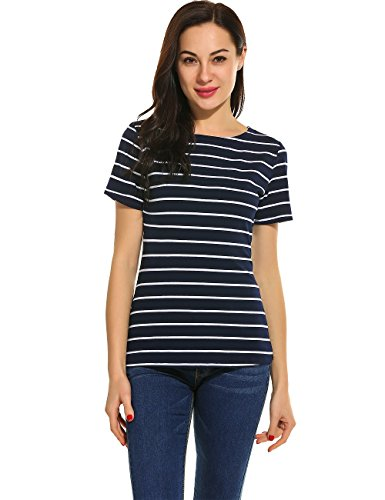 Blue Stripe T-shirt (Women Striped Long Sleeve Tunic Tops and Short Sleeve Stripes T-Shirt Blouse (XXL, #3 Navy Blue))