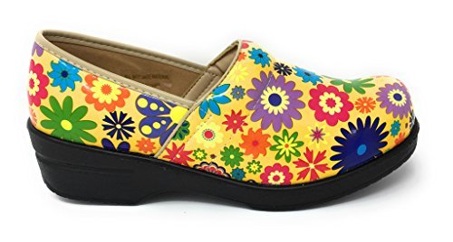 Rasolli Women's Professional Closed Back Clogs, Flower Power, Yellow, Size 8.5 by Rasolli (Image #3)
