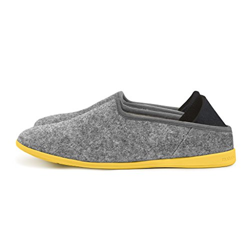 mahabis Classic 2 Slippers - larvik Light Grey with Skane Yellow Soles in Size 7.5 Women
