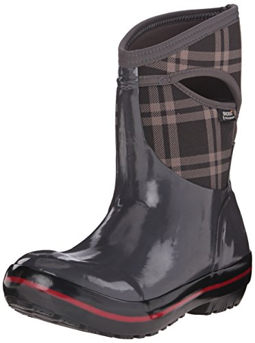 Bogs Donna Plimsoll Plaid Mid Winter Snow Boot Grigio Scuro