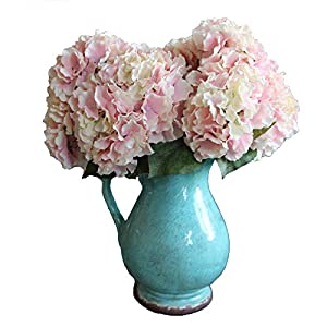 Duosuny Artificial Silk Fake 5 Heads Flower Bunch Bouquet Home Hotel Wedding Party Garden Floral Decor Hydrangea (Pink) 36