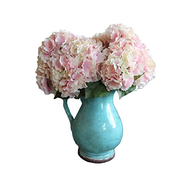 Blue 3Packs Artificial Silk Hydrangea Fake Bridal Bridesmaid Flower Bouquet for Wedding Party Home Decoration 10 Heads 36cm