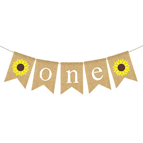 Jute Burlap Sunflower One Banner Boy Girl 1st Birthday Party Highchair Decoration