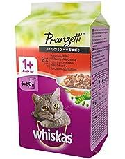 Whiskas Pranzetti in Salsa 1+ Anni 6 x 50 g, Cibo per Gatto con Manzo, Carote, Tacchino, Pollo e Piselli - 12 Confezioni (72 Pezzi in Totale)