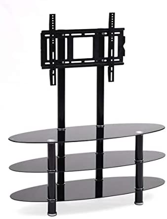 Hodedah Import Mount Three Oval Tempered Glass Shelves Tv Stand, Black