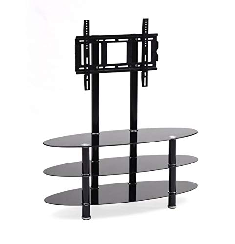 Hodedah Import Mount & Three Oval Tempered Glass Shelves Tv Stand, Black